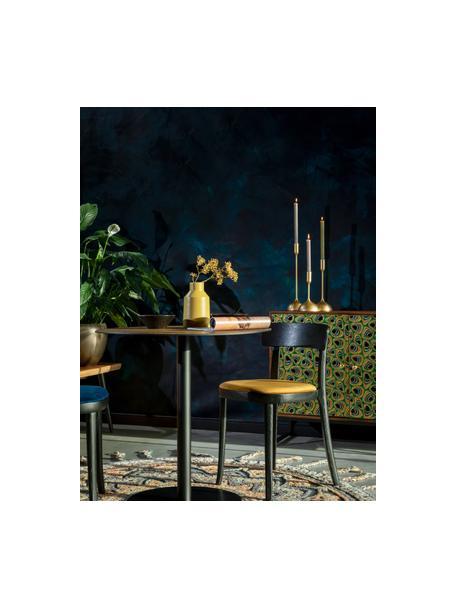 Houten stoel Brandon met fluwelen zitvlak, Bekleding: 100% polyester fluweel, Frame: essenhout, massief, gelak, Zitvlak: multiplex, Geel, 46 x 45 cm