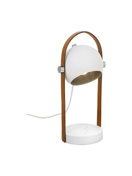 Tafellamp Bow met leren decoratie, Lampenkap: gecoat metaal, Lampvoet: gecoat metaal, Bruin, wit, 15 x 38 cm
