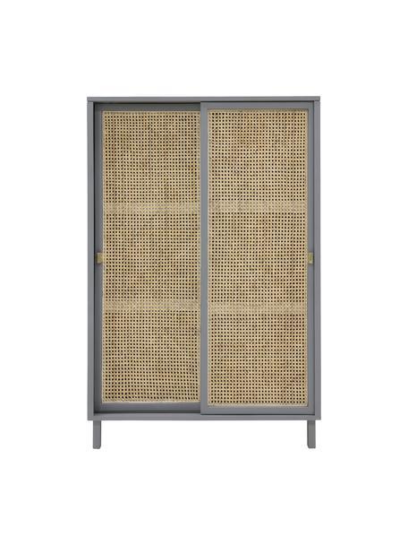 Kast Retro met Weens vlechtwerk en schuifdeuren, Handvatten: gecoat metaal, Grijs, beige, 95 x 140 cm