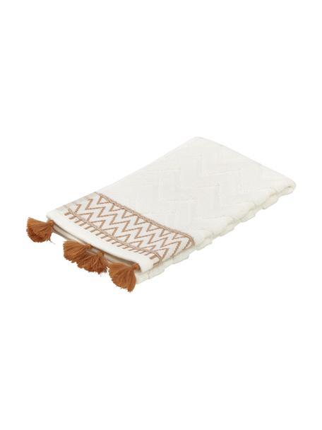 Asciugamano in cotone con motivo a rilievo Karma, 100% cotone Qualità pesante, 600 g/m², Bianco, beige, Asciugamano per ospiti
