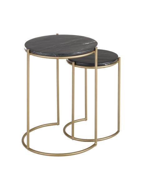 Komplet stolików pomocniczych z marmuru Ella, 2 elem., Blaty: czarny marmur Stelaże: odcienie złotego, matowy, Komplet z różnymi rozmiarami