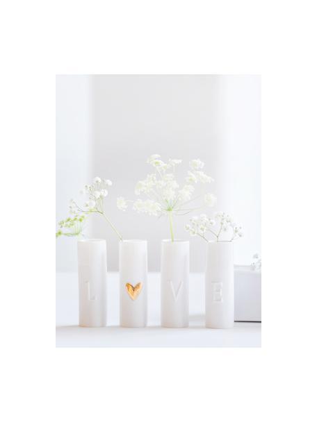Set 4 vasi decorativi in porcellana Love, Porcellana, Vasi: bianco Cuore: dorato, Ø 3 x Alt. 9 cm