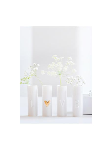 XS Vasen Love aus Porzellan, 4-tlg., Porzellan, Vasen: WeissHerz-Relief: Goldfarben, Ø 3 x H 9 cm