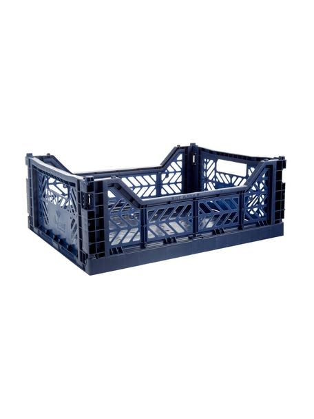 Klappbox Navy, stapelbar, medium, Recycelter Kunststoff, Navyblau, 40 x 14 cm