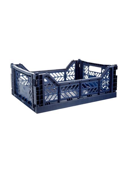 Kosz do przechowywania Navy, składany, średni, Tworzywo sztuczne z recyklingu, Granatowy, S 40 x W 14 cm