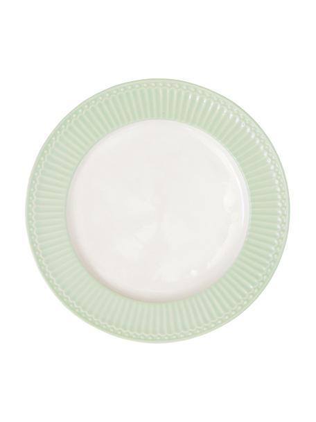 Handgemachte Speiseteller Alice in Pastellgrün mit Reliefdesign, 2 Stück, Steingut, Mintgrün, Weiß, Ø 27 cm