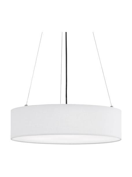 Klassieke hanglamp Pina in wit, Lampenkap: stof (sits), Diffuser: kunststof, Baldakijn: metaal, Wit, Ø 50 x H 13 cm