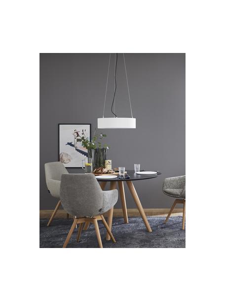 Klassische Pendelleuchte Pina in Weiß, Lampenschirm: Stoff (Chintz), Baldachin: Metall, Weiß, Ø 50 x H 13 cm