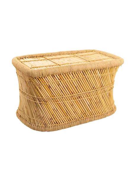 Zewnętrzny stolik pomocniczy z drewna bambusowego Ariadna, Drewno bambusowe, lina, Brązowy, S 79 x G 48 cm