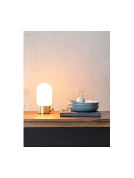 Lámpara de mesa pequeña regulable Urban, con conexión USB, Pantalla: vidrio opalino, Cable: cubierto en tela, Dorado, blanco opalino, Ø 13 x Al 25 cm