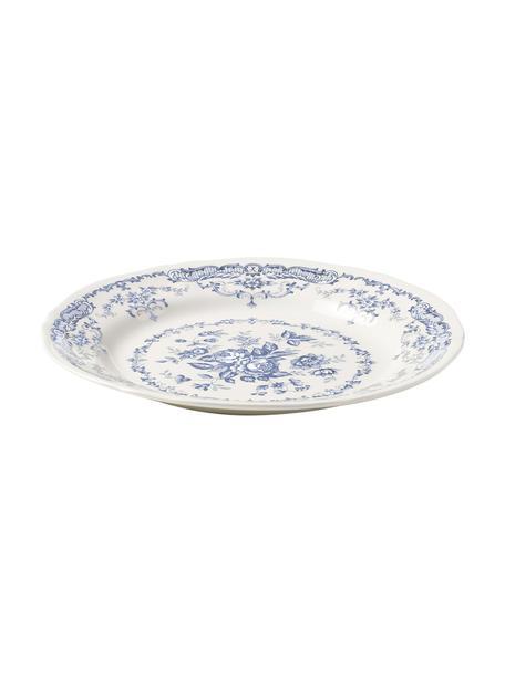 Dinerborden Rose met bloemmotief in wit/blauw, 2 stuks, Keramiek, Wit, blauw, Ø 26 x H 2 cm