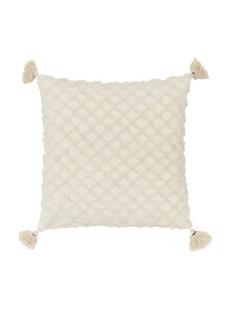 Kissenhülle Royal mit Hoch-Tief-Struktur und Quasten, 100% Baumwolle, Gebrochenes Weiß, 45 x 45 cm