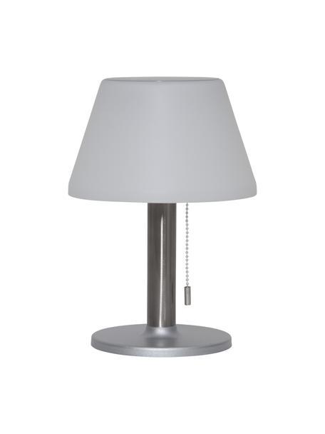 Solar outdoor tafellamp Solia, Lampenkap: kunststof, Lampvoet: edelstaal, Wit, staalkleurig, Ø 20 x H 28 cm