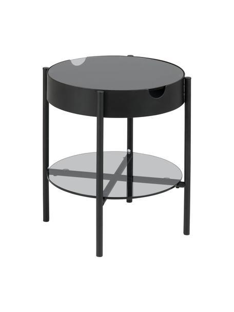 Bijzettafel Tipton met glazen tafelblad met opbergruimte, Gehard glas, metaal, Grijs, zwart, Ø 45 x H 50 cm