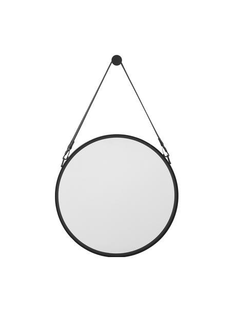 Okrągłe lustro ścienne ze skórzaną pętlą Liz, Czarny, Ø 60 cm