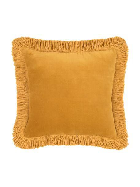 Federa arredo in velluto con frange Phoeby, Cotone, Giallo, Larg. 40 x Lung. 40 cm