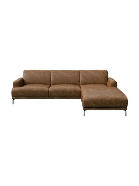 Sofá rinconero de cuero Puzo, Tapizado: 100%cuero, Patas: metal pintado, Marrón con look vintage, An 240 x F 165 cm
