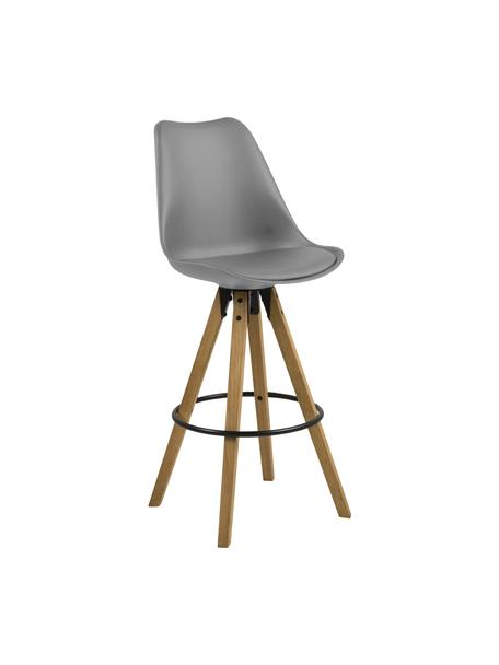 Barstühle Dima in Grau, 2 Stück, Sitzschale: Polyurethan, Bezug: Polyester, Beine: Gummibaumholz, geölt, Sitzschale: Grau Beine: Gummibaumholz Fußstütze: Schwarz, 49 x 112 cm