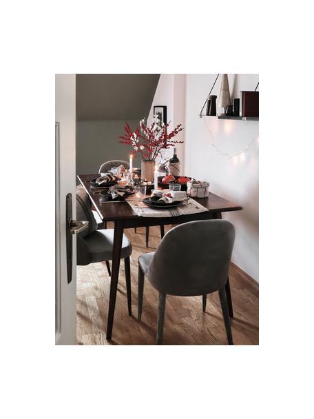 Mesa de comedor de madera maciza Oscar, Madera de mango maciza pintada, Marrón oscuro, An 150 x F 90 cm