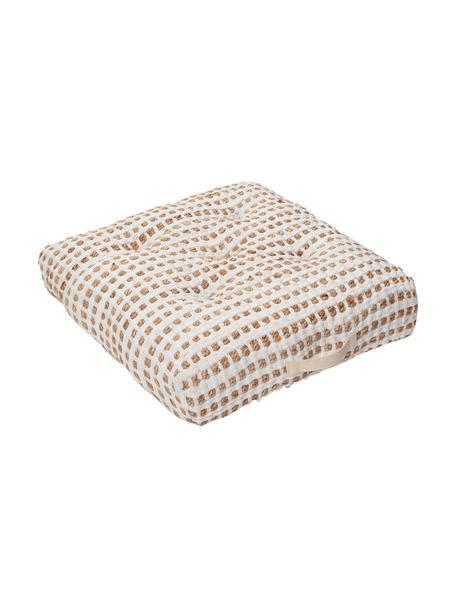 Cuscino da pavimento boho in cotone/juta Fiesta, Rivestimento: 55% cotone chindi, 45% ju, Bianco, beige, Larg. 60 x Alt. 13 cm