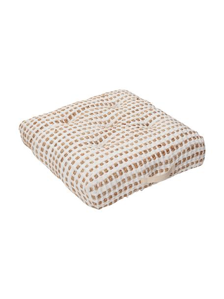 Poduszka podłogowa z bawełny/juty w stylu boho Fiesta, Tapicerka: 55% bawełna chindi, 45% j, Biały, beżowy, S 60 x W 13 cm