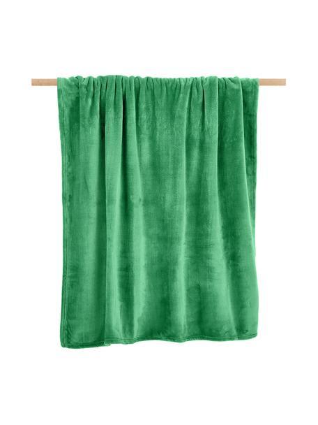 Coperta coccolosa color verde Doudou, 100% poliestere, Verde, Larg. 130 x Lung. 160 cm