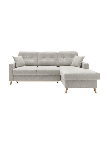 Sofa narożna z funkcją spania i miejscem do przechowywania Sweden, Tapicerka: poliester, Nogi: drewno naturalne, Odcienie kremowego, S 224 x G 149 cm