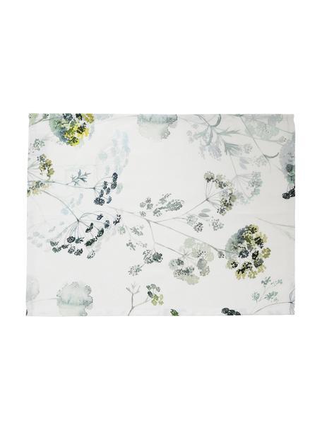 Baumwoll-Tischsets Herbier mit Aquarell Print, 2 Stück, Baumwolle, Weiß, Grüntöne, 38 x 50 cm