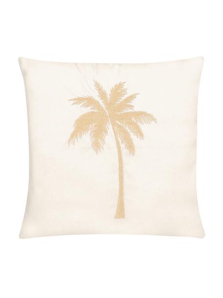 Glänzende Samt-Kissenhülle Palmsprings mit Stickerei, 100% Polyestersamt, Cremeweiss, Goldfarben, 40 x 40 cm