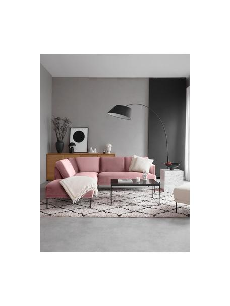 Sofa narożna z aksamitu z metalowymi nogami Fluente, Tapicerka: aksamit (wysokiej jakości, Nogi: metal malowany proszkowo, Aksamitny blady różowy, S 221 x G 200 cm
