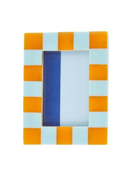 Fotolijstje Check, Polyresin, MDF, Blauw, oranje, 8 x 11 cm