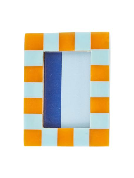 Ramka na zdjęcia Check, Poliresing, płyta pilśniowa średniej gęstości (MDF), Niebieski, pomarańczowy, S 8 x W 11 cm