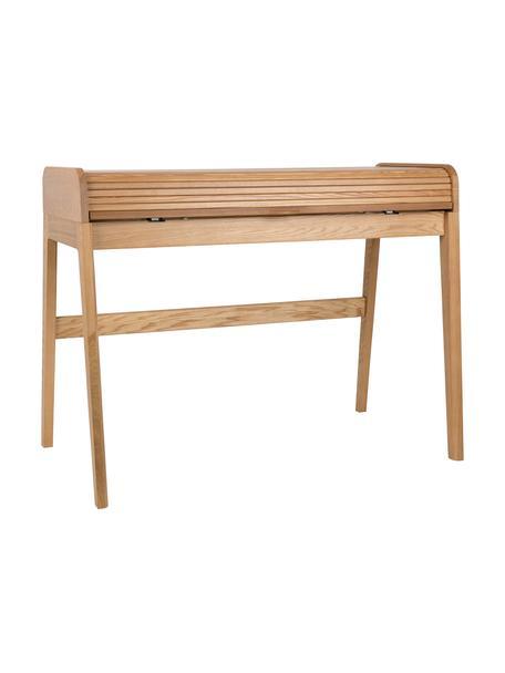 Holz-Schreibtisch Barbier mit rollbarer Abdeckung und geriffelter Front, Tischplatte: Mitteldichte Holzfaserpla, Eschenholz, 110 x 85 cm