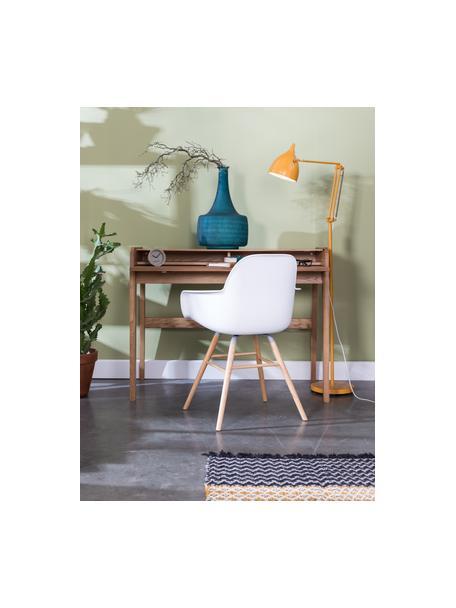 Scrivania in legno con piano scanalato e arrotolabile Barbier, Piano del tavolo: pannello di fibra a media, Legno di frassino, Larg. 110 x Alt. 85 cm