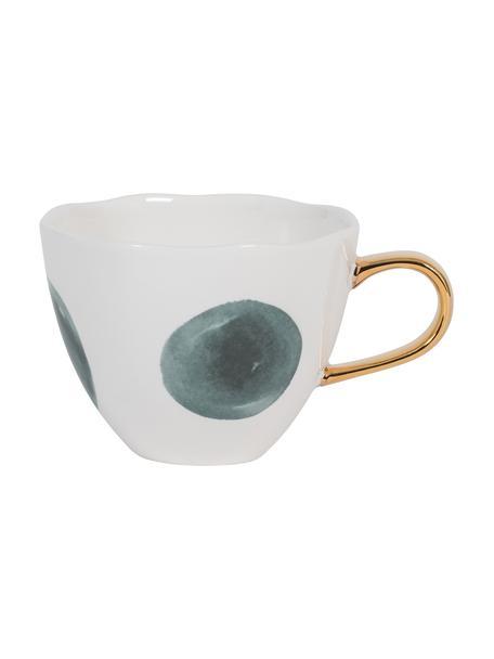 Gestippelde Good Morning-mok met gouden handvat, Keramiek, Wit, grijs, Ø 11 x H 8 cm