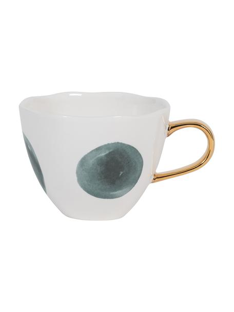 Tazza con manico dorato Good Morning, Gres, Bianco, blu, Ø 11 x Alt. 8 cm