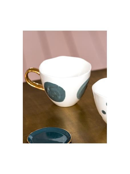 Gestippeld kopje Good Morning met goudkleurig handvat, Keramiek, Wit, grijs, Ø 11 x H 8 cm