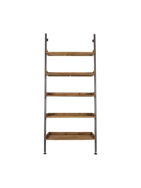 Libreria a scala in design vintage Wally, Mensole: legno di abete naturale m, Struttura: metallo verniciato a polv, Marrone, Larg. 86 x Alt. 200 cm