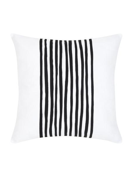 Kussenhoes Corey met strepen in zwart/wit, 100% katoen, Zwart, wit, 40 x 40 cm