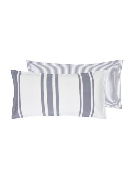 Dwustronna poszewka na poduszkę z organicznego perkalu z efektem sprania Kinsley, Niebieski, biały, S 40 x D 80 cm