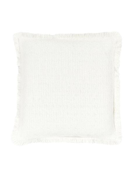 Federa arredo color bianco crema Lorel, 100% cotone, Bianco, Larg. 40 x Lung. 40 cm