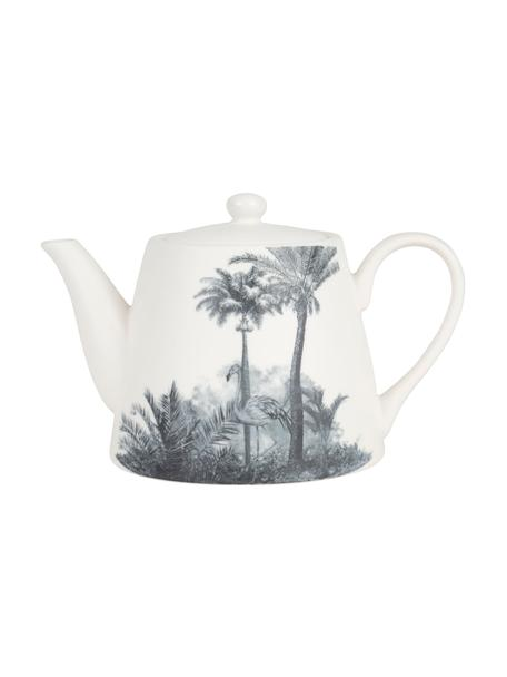 Teiera con motivo tropicale Papaye, Porcellana, Bianco, nero, 850 ml