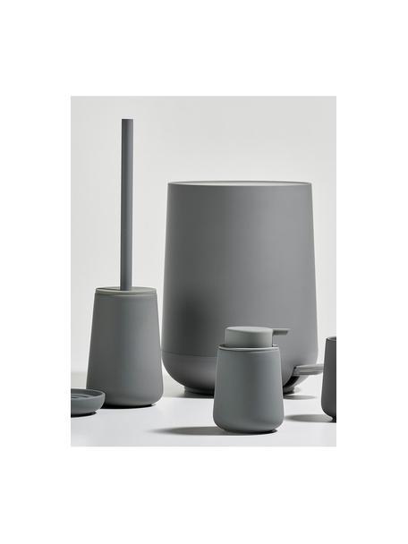 Zeepdispenser Push, Houder: porselein, Pompje: kunststof, Matgrijs, Ø 8 x H 12 cm