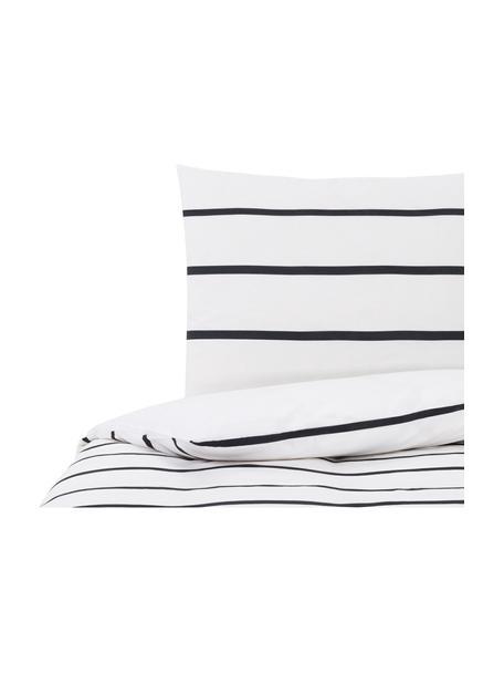 Dubbelzijdig beddengoed Blush, Katoen, Wit, zwart, roze, 140 x 200 cm + 2 kussen 60 x 70 cm