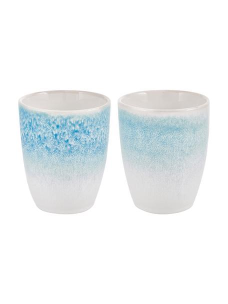 Tazza senza manico fatta a mano con smalto efficace Amalia 2 pz, Porcellana, Azzurro, bianco crema, Ø 10 x Alt. 11 cm