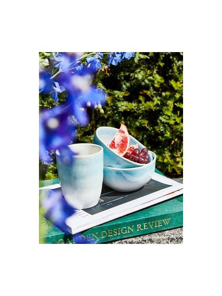 Ręcznie wykonany kubek Amalia, 2 szt., Ceramika, Jasny niebieski, kremowobiały, Ø 10 x W 11 cm