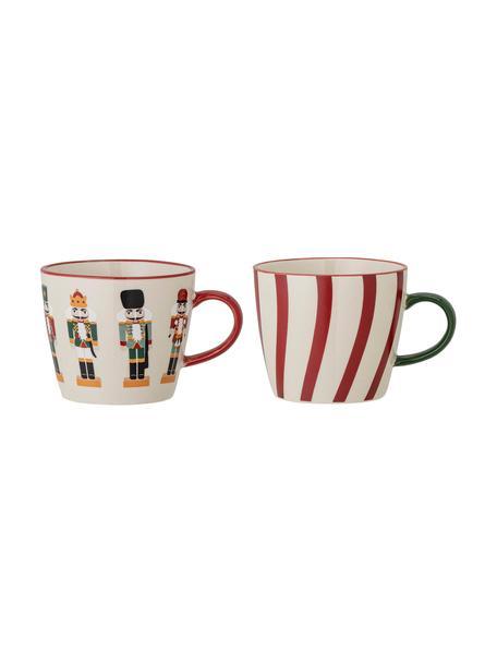 Tassen Jolly mit Nussknacker-Motiven, 2 Stück, Steingut, Rot, Weiß, Ø 9 x H 8 cm
