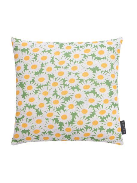 Federa arredo con motivo floreale Margerite, Bianco, verde, giallo, Larg. 40 x Lung. 40 cm