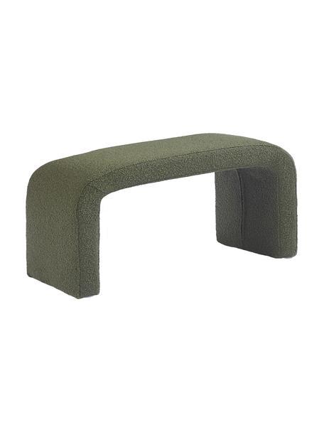 Moderne bouclé bank Penelope, Bekleding: bouclé (100% polyester), Frame: metaal, multiplex, Bouclé groen, 110 x 46 cm