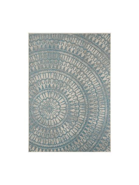 In- & outdoor vloerkleed Arnon met patroon, 100% polypropyleen, Turquoise, beige, B 140 x L 200 cm (maat S)